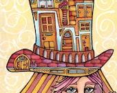 Original Illustration Milliner Maiden, 9x6 Colorful Hat Art