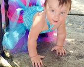 Turquoise Purples and Hot Pink Tutu Photo Prop for Baby Girls Newborn to Toddler Sizes Headband Hair Feathers Bow Set