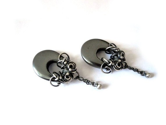 Hematite Dangle Earrings - Wire Wrapped Silver Studs - Long Dark Titanium Grey Earrings - Oval Geometric Chandelier