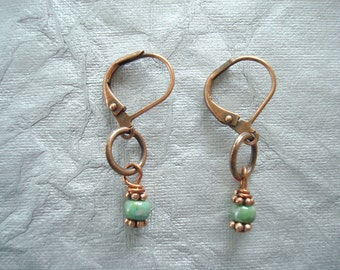 FREE SHIPPING. Cute, Dainty Antique Copper Earrings with Turquoise Terra Cotta Japanese Glass Beads