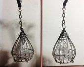 Caged Crystal ear weights - brass cages with natural smoky quartz crystals - for lobes sized 6g and up