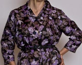 Be awesome in this mod-pop purple flower print button up dress - Medium-Large