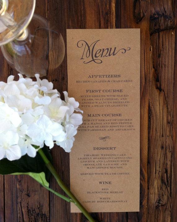 Rustic Kraft Wedding Menus Printable Template