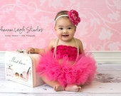HOT PINK TUTU Baby Girl Tutu Set With Matching Vintage Style Flower Headband Stunning Newborn Photo Prop