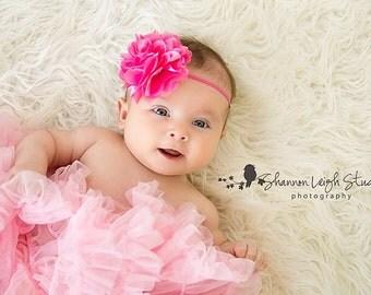 HOT PINK Headband Newborn Headband Pink Headband Baby Headband Hot Pink Satin Mesh Flower Headband Newborn Photo Prop