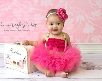 HOT PINK TUTU Baby Girl Tutu Set With Matching Vintage Style Flower Headband Stunning Newborn Photo Prop