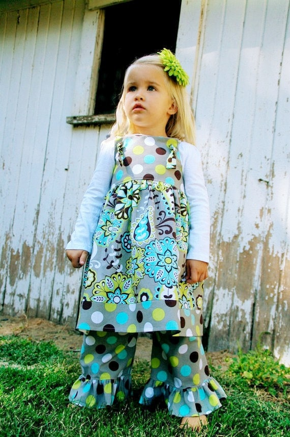 The Katie Dress - Grey, Brown, Lime Green, and Turquoise Polka Dot and Paisley Knot Dress
