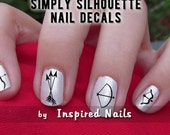 Crossbow and Arrows Nail Decals Black and Clear Simply Silhouette by Inspired Nails