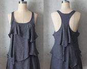 RAIN - Romantic gray flowy tier blouse // tunic // tank top // racerback // charcoal grey // sleeveless