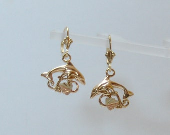 Whitakers Black Hills Gold Dolphin Earrings