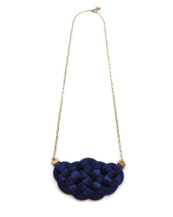 navy necklace knot necklace preppy necklace by elfinadesign