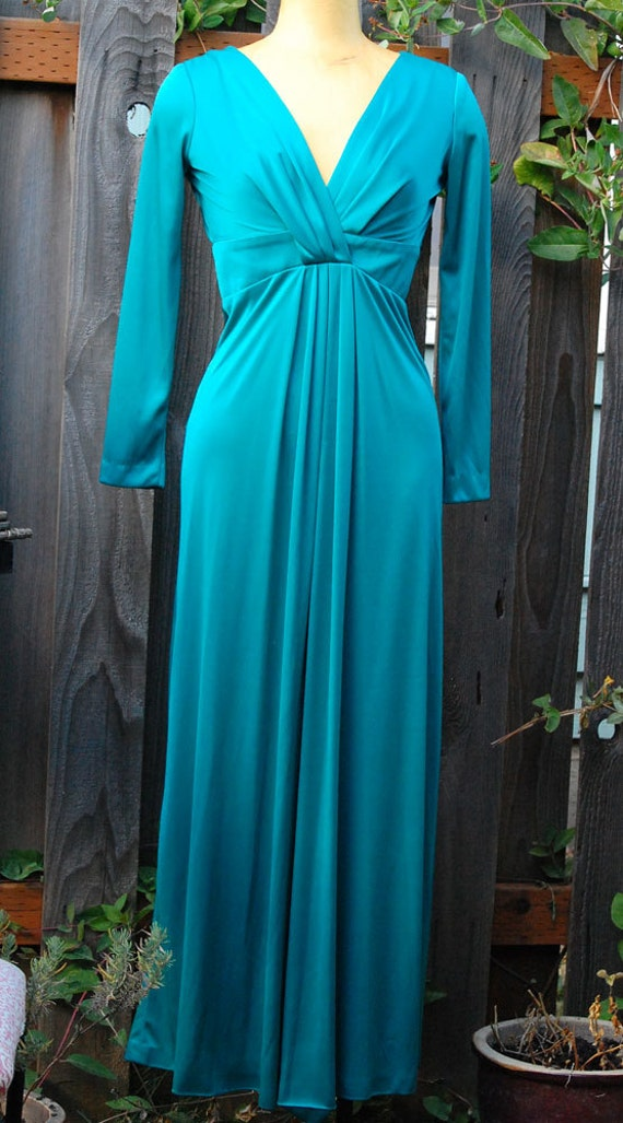 Beautiful Long Vintage 70s Green Gown / Dress by Mister Robert