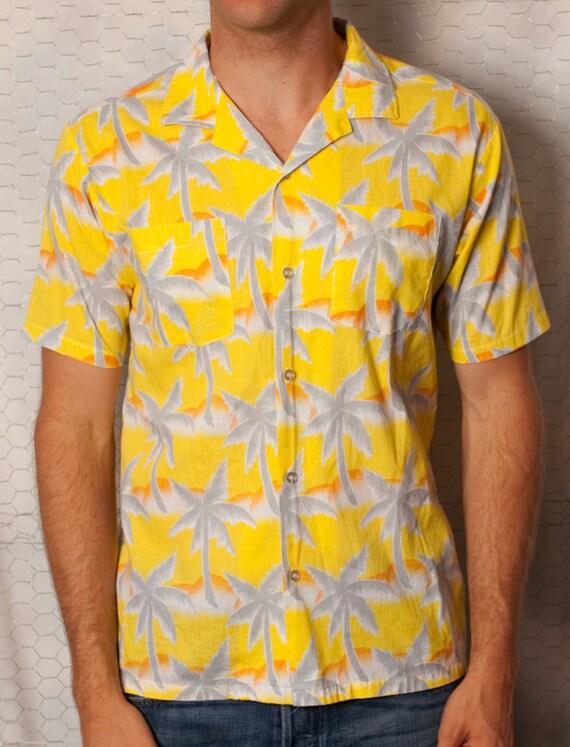 Bright Yellow Palm Trees and Sun Hawaiian Shirt Tropicana - S