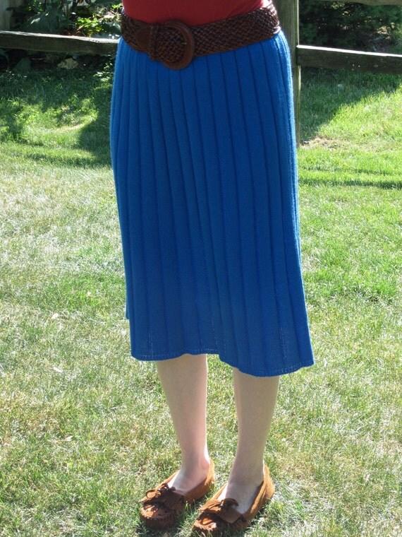 Vintage Sweater Knit Cobalt Blue Skirt