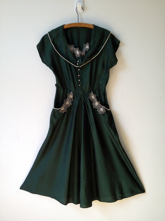 vintage 40s 50s iridescent green valley dress s m