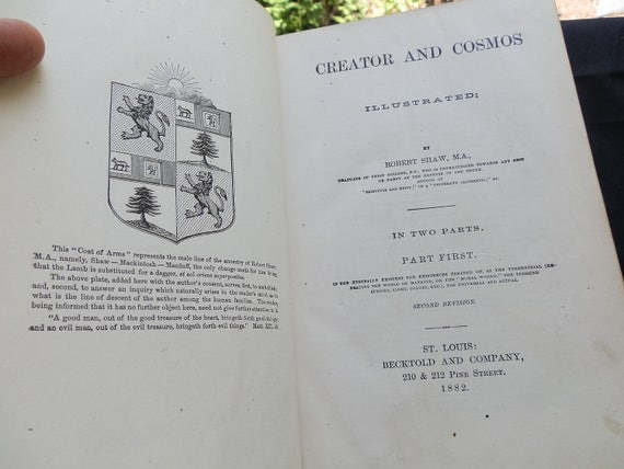 Creator and Cosmos by R Shaw. 1882 Leather 2 volume Large book set.