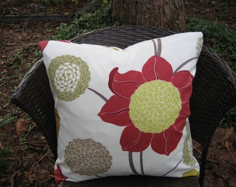 """Pillow Cover--20"""" Modern Floral on Ivory background Fabricut Zahara Pomegranate"""