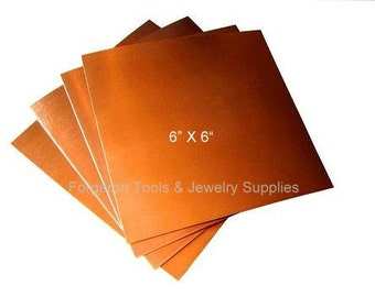 COPPER SHEET 28 Gauge 6 X 6 Inch - 1 Sheet Solid Copper For Etching, Jewelry Design, Stamping and More - CU02