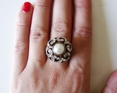Vintage Ottoman Style Pearl Ring with Rhinestones - FREE SHIPPING