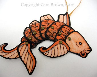 Digital Koi Fish paper Christmas Tree ornament DIY download party favor Asian Orange and Red