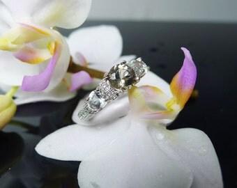 Black Herkimer Diamond, Three Stone Ring, Unique Gemstone Ring, Sterling Gemstone Ring, Herkimer Diamond Ring, Unique Style Ring