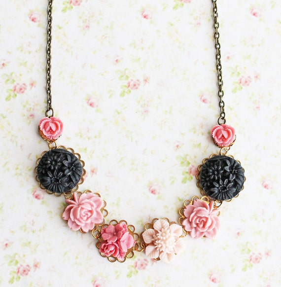 Pink and Black Flower Necklace. Bohemian. Romantic. Delicate. Statement Necklace, Whimsical. Floral Jewelry. Fall. Autumn Wedding.