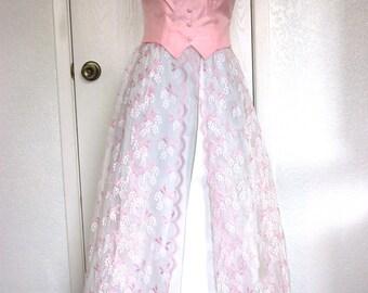 Deadstock Pink Taffeta & Lace Formal Gown