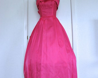1960's Hot Pink Rayon Strapless Dress With Train