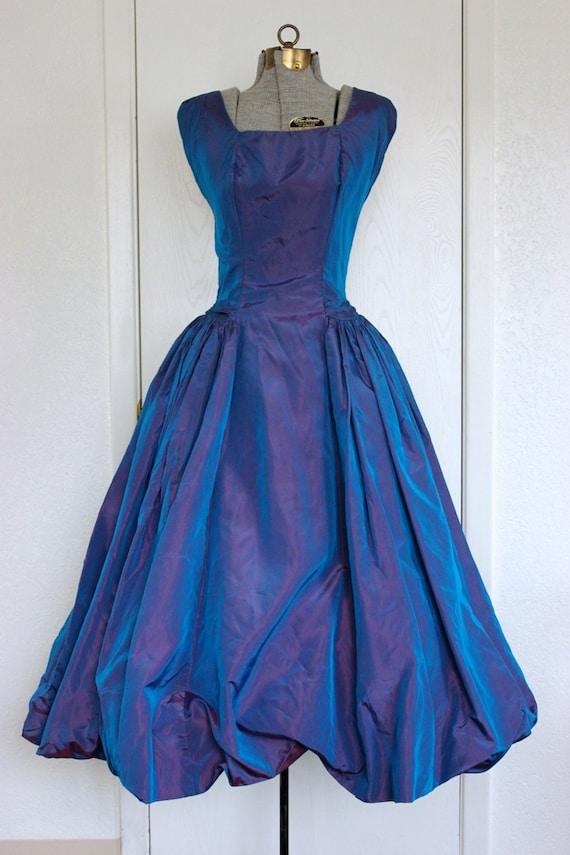 1950 S Blue Iridescent Bubble Prom Dress