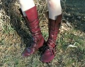 Soft Historical Leather Boots--- Thick Leather Sole Option-- Round Toe-- Wrapped Lacing-- Made To Order-- Renaissance, Viking, Medieval