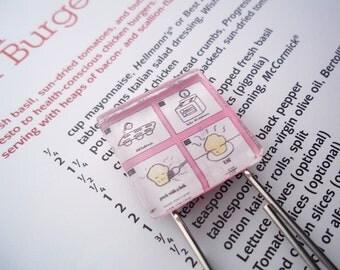 Cooking Cookbook Muffin Recipe Book Large Paperclip Bookmark Paperclip Bookmark Glass Cabochon