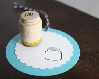 Mason Jar Stamp Small Stamp for gift tags, back of handmade cards, business owners O022