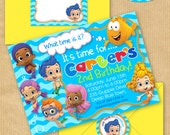 "Bubble Guppies Party Invitation 5x7"" with Address Labels, Includes Envelope Templates - DIGITAL files only - PERSONALIZED Print yourself"