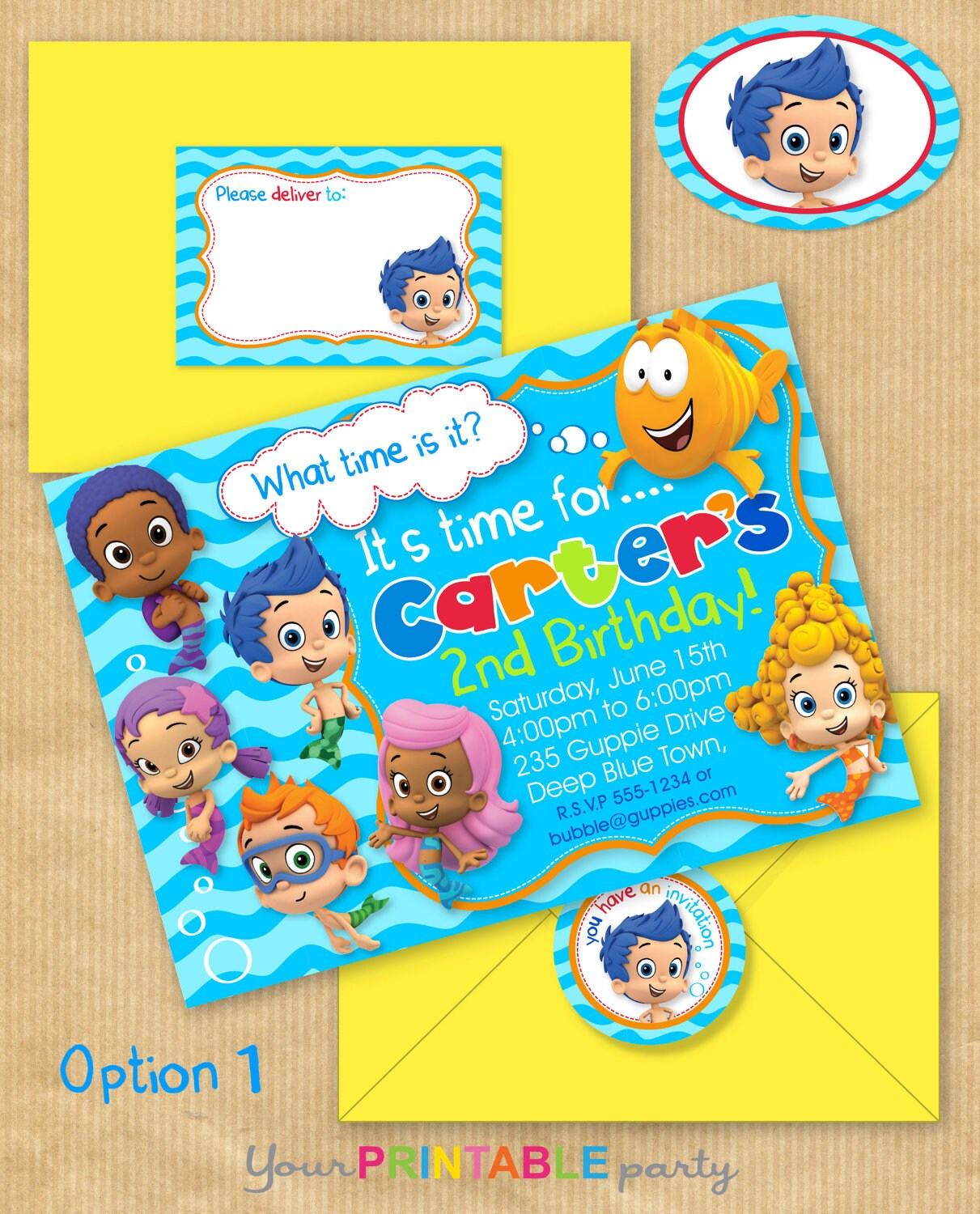 bubble guppies party invitation x with address labels, party invitations
