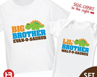 Dinosaur Big Brother Shirt & Dinosaur Little Brother Shirt or Bodysuit - 2 Personalized Sibling Shirt