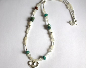 Heart peace necklace with moonstone and jasper, spiritual, metaphysical, hippie jewelry