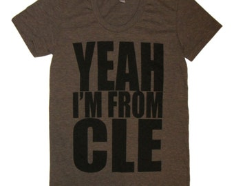 Ladies American Apparel SUPER SOFT Vintage Feel Track Tee - Yeah I'm From CLE on Heather Coffee Brown