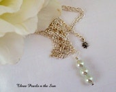 White Fresh Water Pearls, Handmade necklace, Chain Necklace