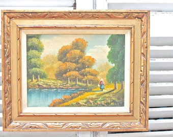 Vintage Landscape Canvas Painting in Gold Tone Wood Frame