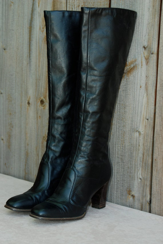 Women's boots, knee high, black leather, stacked heel by Joyce of California, women's US 6 1/2 narrow.