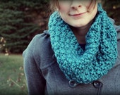 Teal Blue Winter Cowl, Warm Hand Knit