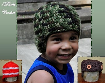 Crochet Pattern PDF - Helmet / Beanie / Hat - A Helmet Ahead - Newborn to Adult Sizes - Directions for Soldier, Football and Avaitor Helmet