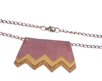 Zig Zag Chevron Pendant Necklace / Handmade Jewelry / Eco Friendly / OOAK