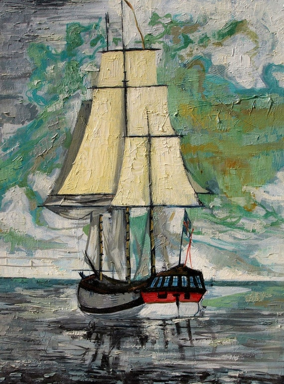 "Sailing Away. Nautical Painting. Oil on Canvas. 22"" x 28"""