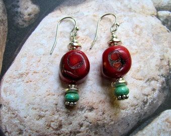 Red Coral Earrings - Turquoise Earrings, Gemstone Earrings, Coral Earrings, Southwest Earrings, Cowboy Earring, Dangle Earrings, Red Earring