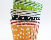 24 Fall Polka Dot Candy Cups Green Orange Brown Halloween Party Cup