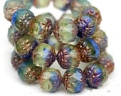 Cathedral czech glass beads, Blue green mixed color beads with golden ends, marbled, faceted beads - 8mm - 10Pc - 0466