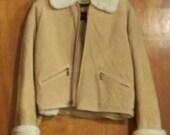 Vintage Women's Coat 1980's Genuine Leather Suede Jacket Size Small Ladies' Coat