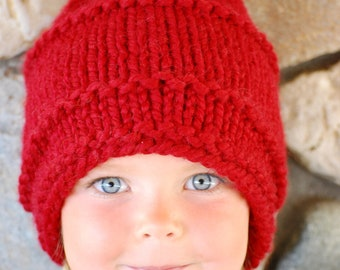 Red Knit Hat CHRISTMAS GIFT for Toddlers Ladies Girls or Boys, Kids Beanie Hand Knit, Red Wool Acrylic Blend, Cranberry Red Toque Cozy Warm