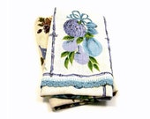 Mid Mod Towels, Vintage 1950s Aqua & Lavender Floral Linen